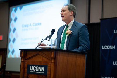 """UConn has been so instrumental in my life and for education,"" said Craig A. Cooke, recipient of the 2019 Outstanding School Superintendent Award, at last week's Annual Alumni Awards Celebration. (Defining Studios)"