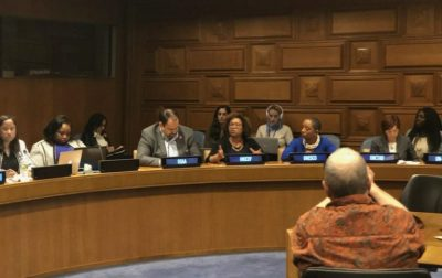 Doctoral student Monique Golden serves on a panel at the U.N. earlier this month. (Photo courtesy of Monique Golden)(Photo courtesy of Monique Golden)