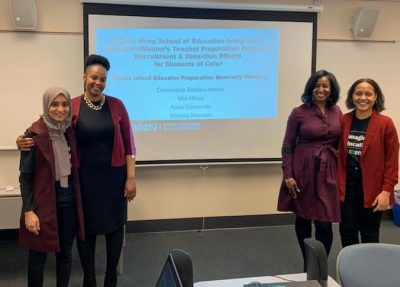 Pictured left to right: Shanza Hussain, Mia Hines, Dominique Battle-Lawson, and Anne Denerville. (Photo credit: Lauren K. B. Matlach, Rhode Island Department of Elementary and Secondary Education)