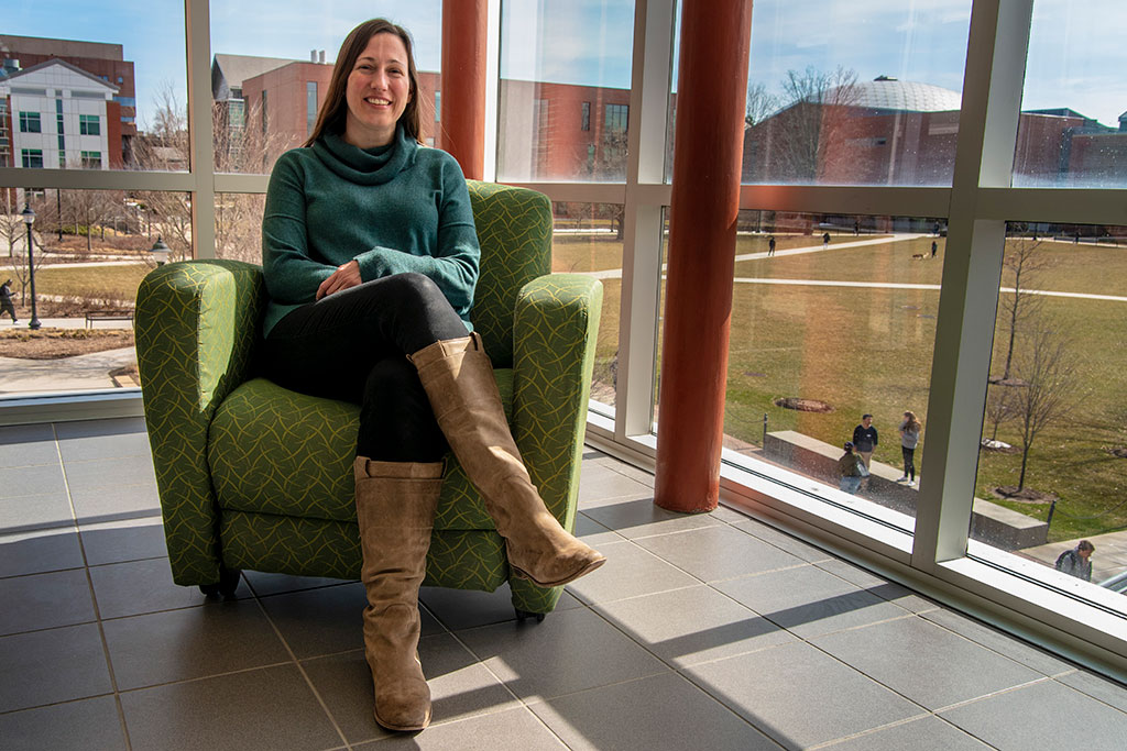 Educational psychology professor Brandi Simonsen, an expert on behavioral issues in schools, discusses the use of seclusion and restraint and the alternatives to their use. (Sean Flynn/UConn Photo)