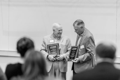 Retiring UCAPP faculty members, Earle Bidwell and Jerome Auclair, were recognized during the opening remarks at the UCAPP Change Project Day.