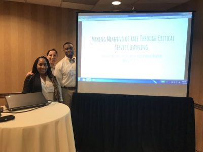 """AJ Newton and Kolin Ebron, along with faculty Jennifer McGarry and Justin Evanovich, co-presented """"Making Meaning of Race Through Critical Service Learning"""" at the Association of American Colleges & Universities Diversity, Equity, and Student Success Conference in Pittsburgh in March"""
