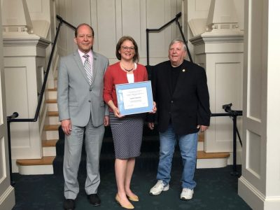Kent Holsinger, dean, the Graduate School at UConn; Sandra Chafouleas, professor and 2019 recipient of the Edward C. Marth Mentorship Award; and Edward C. Marth, former executive director of the UConn AAUP chapter.
