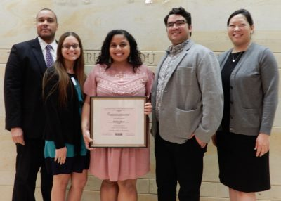 On hand to celebrate with her were previous recipients of the Alma Exley Scholarship, from left, Desi Nesmith '0 (ED), '02 MA, '09 6th Year; Chastity Berrios Hernández, Theodore Martinez and Chi-Ann Lin.