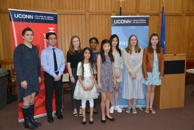 Connecticut Letters About Literature winners gather at the Capitol in April 2019. (Shawn Kornegay/Neag School)