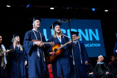 "Neag School Class of 2019 music education majors give a special performance of ""A Million Dreams"" at the end of the Undergraduate Commencement ceremony at Jorgensen. (Roger Castonguay/Defining Studios)"