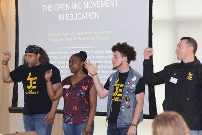 Just Experience presenters included; Ryan Parker; Ashley Okwuazi; Justis Lopez '14 (ED), '15 MA; and Matt Delaney '14 (ED), '15 MA.