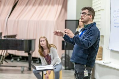 Rex Sturdevant leads a music education class on the UConn Storrs campus in April.