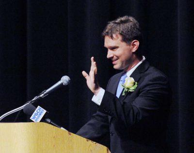 Ian Tieremann accepts award for Teacher of the Year.