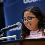 Student Isabella Horan spoke during the Neag School's 2019 Scholarship Celebration.