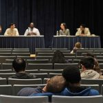 Students attending mental health panel
