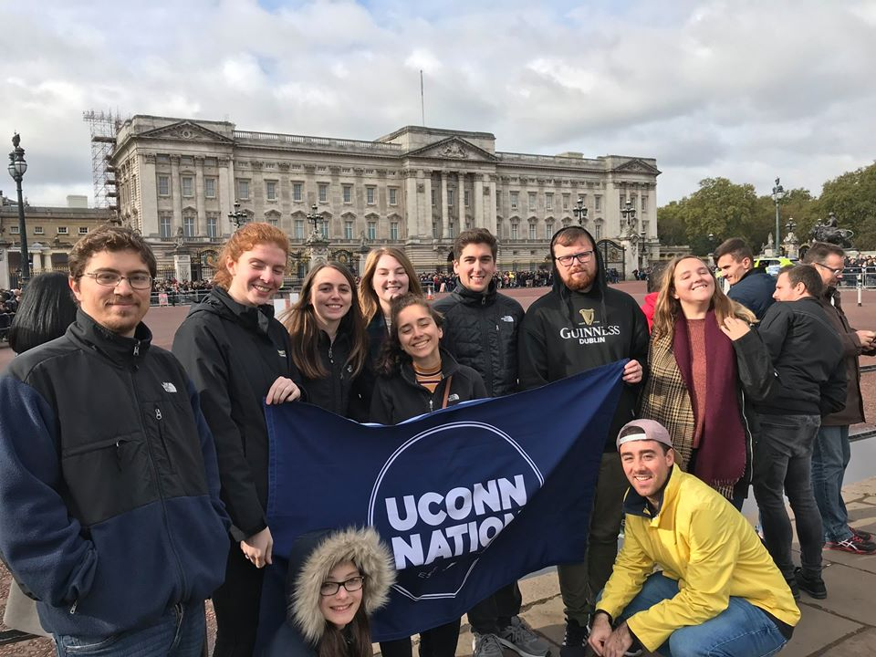 Neag School students gather in front of Buckingham Palace in London as part of their semester abroad experience this past fall.