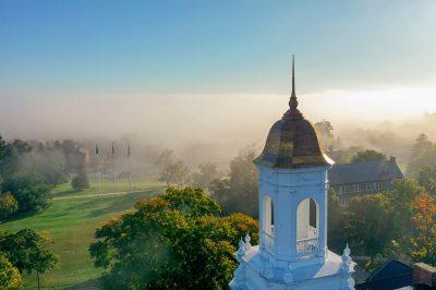 Drone shot of UConn campus' Wilbur Cross cupola.