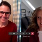 Karen and Lauren conduct an online meeting.