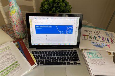 At-home teacher's desk of Lauren Niessing.