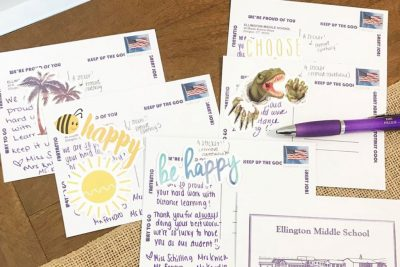 Victoria Schilling sends postcards to homes of her students.