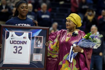 Batouly Camara and her mother at a UConn women's basketball event.