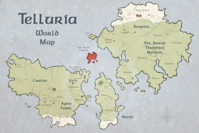 Map of fictional world Telluria.