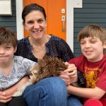 Jennie Weiner with her sons and dog.