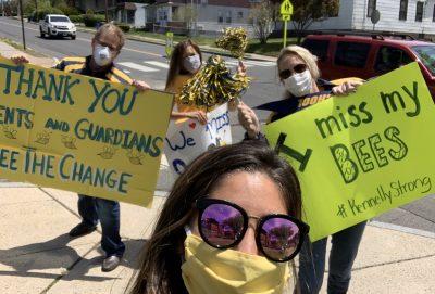 Teachers outside school for 'reverse' teacher parade