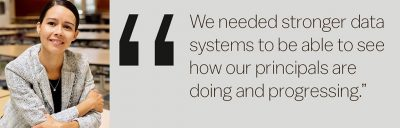 'We need stronger data systems to be able to see how our principals are doing and progressing.'