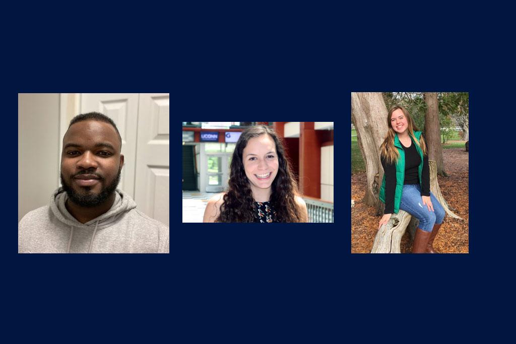 2021 Alumni Board Scholarship recipients Jordane Virgo, Lauren Dougher, and Elizabeth Canavan.