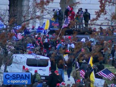 Crowds at U.S. Capitol riot.