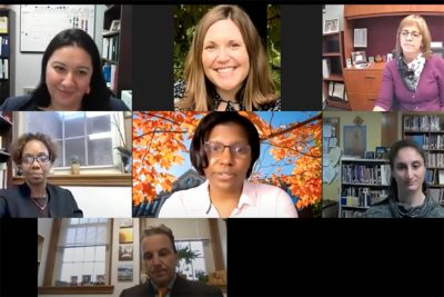 Screen shot of seven speakers leading the virtual meeting.