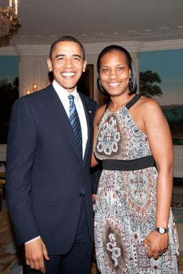 President Obama and Jamelle Elliott.