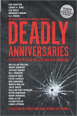 """Book cover """"Deadly Anniversaries"""" edited by Marcia Muller and Bill Prozoni"""