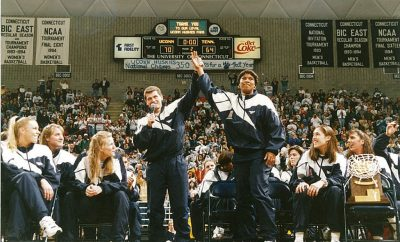 Geno Auriemma and Jamelle Elliott at Gampel.