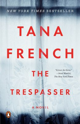 """Book cover """"The Trespasser"""" by Tana French, a Kaufman Three Books recommendation."""