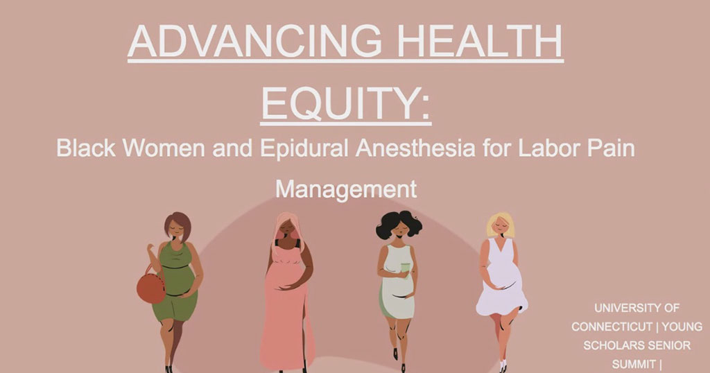 Young Scholars Senior Summit slide. Text reads: Advancing Health Equity: Black Women and Epidural Anesthesia for Labor Pain Management.