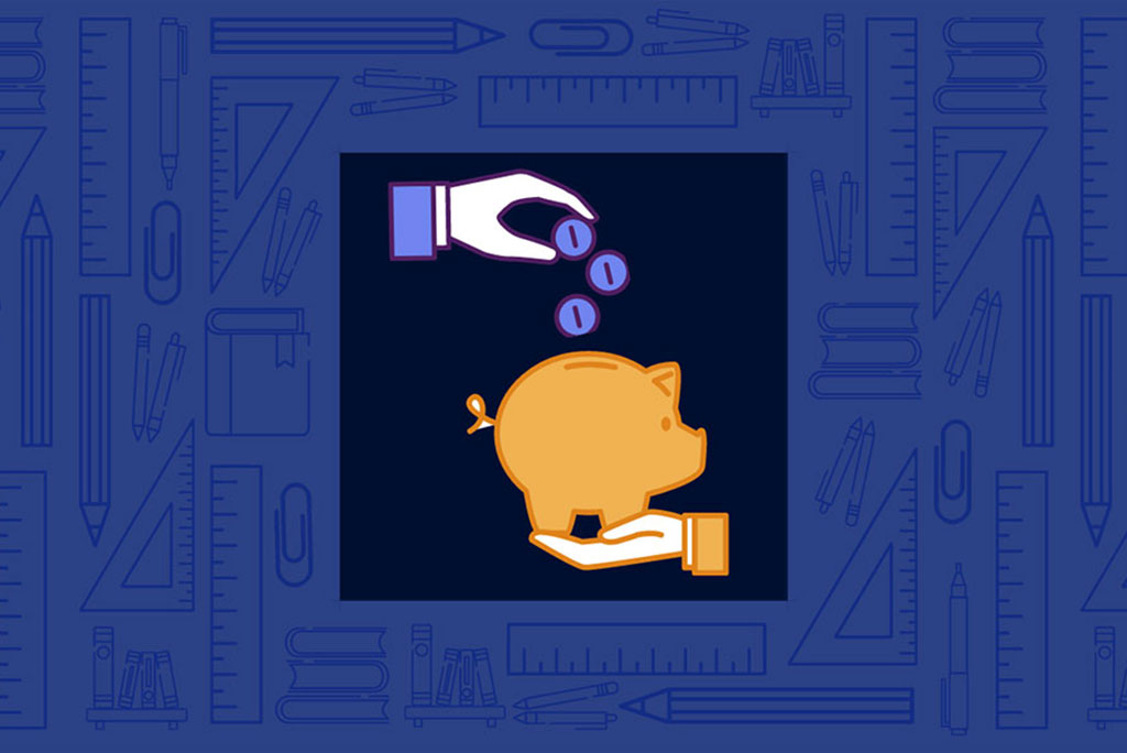 Illustration of hand tossing coins into a piggy bank. [Links to Alumni Board Scholarship Application]